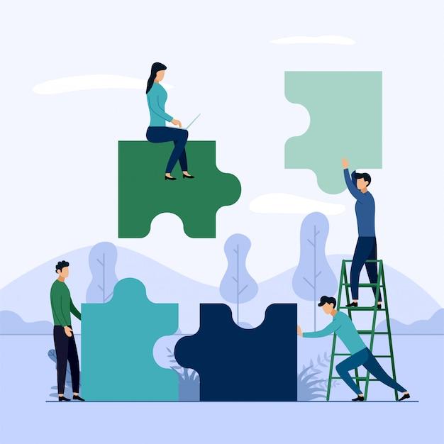 People connecting puzzle elements Premium Vector