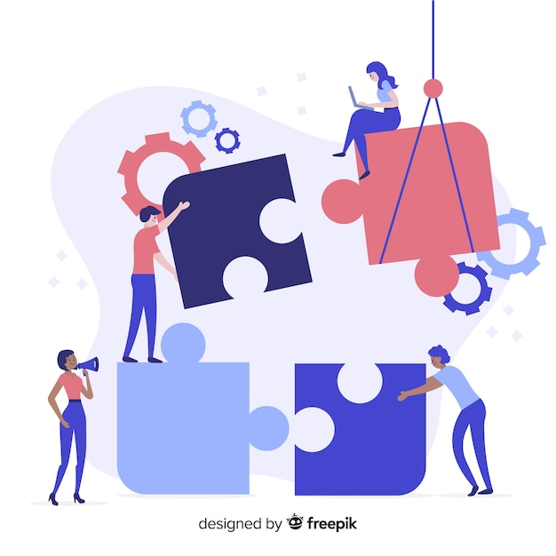 People connecting puzzle pieces background Free Vector