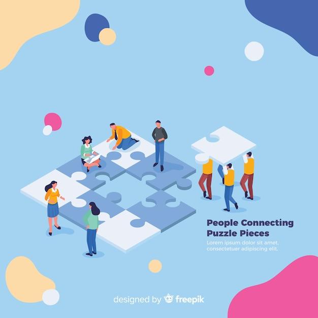 퍼즐 조각 배경을 연결하는 사람들 무료 벡터