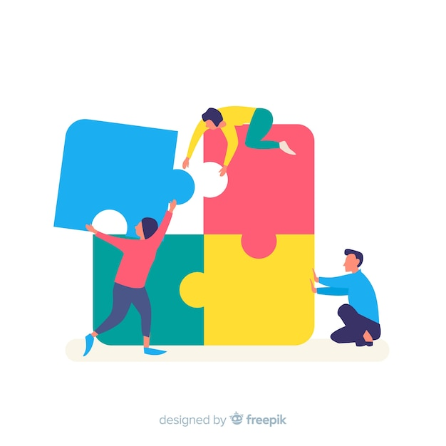 People connecting puzzle pieces colorful background Free Vector