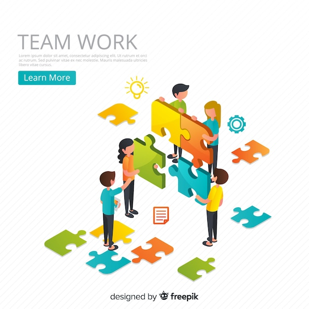 People connecting puzzle pieces isometric background Free Vector