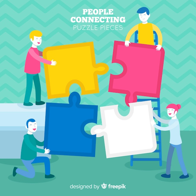 People connecting puzzle pieces Free Vector