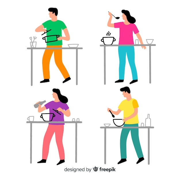 People cooking collection Free Vector