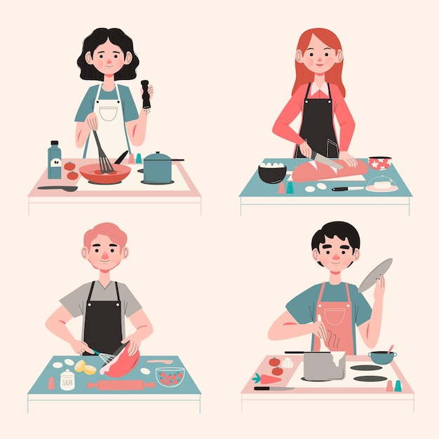 People cooking illustration concept Free Vector