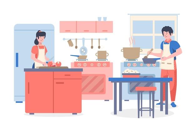 キッチンで料理をする人 無料ベクター