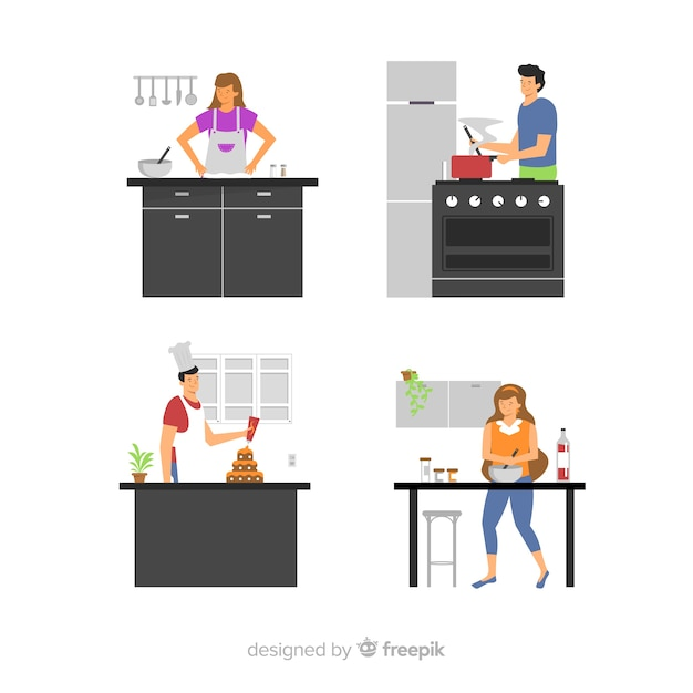 People cooking at the kitchen collection Free Vector