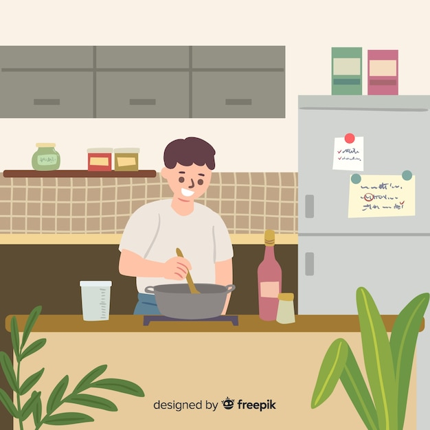 People cooking in the kitchen Free Vector