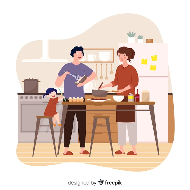 People cooking at the kitchen Free Vector