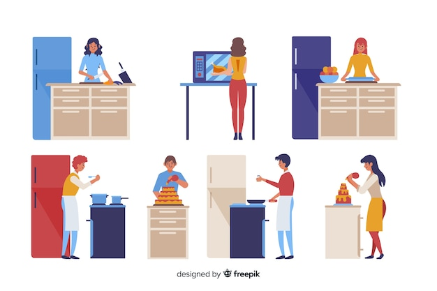 People cooking Free Vector