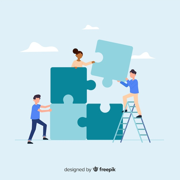 People cooperating to make a puzzle Free Vector