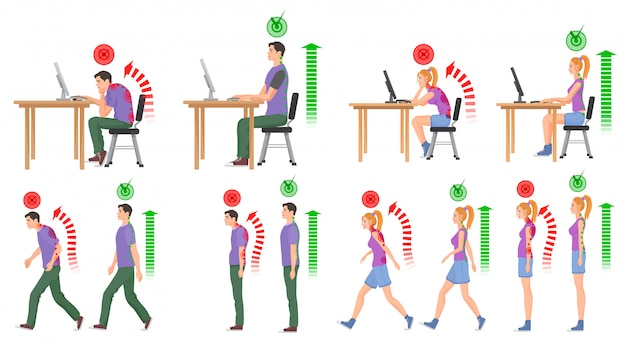 People in correct and wrong spine positions Premium Vector