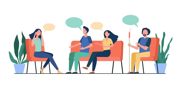 People counseling with psychologist isolated flat vector illustration. cartoon medical doctor talking with patients at psychotherapist session. group therapy and addiction concept Free Vector