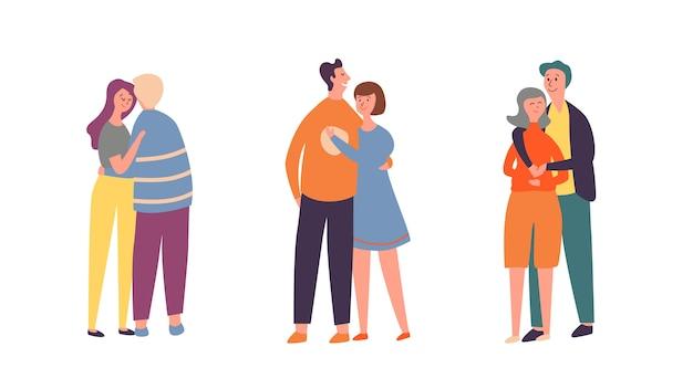 Люди пара обнять набор символов. семейный любовник пара группового разговора вместе. взрослый парень гуляет с подругой на романтическом свидании на день святого валентина. счастливые отношения плоский мультфильм векторные иллюстрации Premium векторы