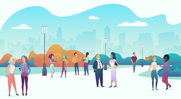 People couples communicating, talking and walking in modern city street or park. trendy soft gradient color Premium Vector