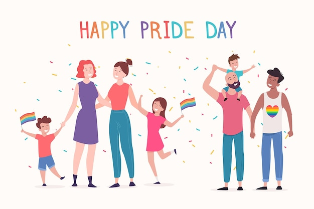 Persone in coppia e famiglie che celebrano la giornata dell'orgoglio Vettore gratuito