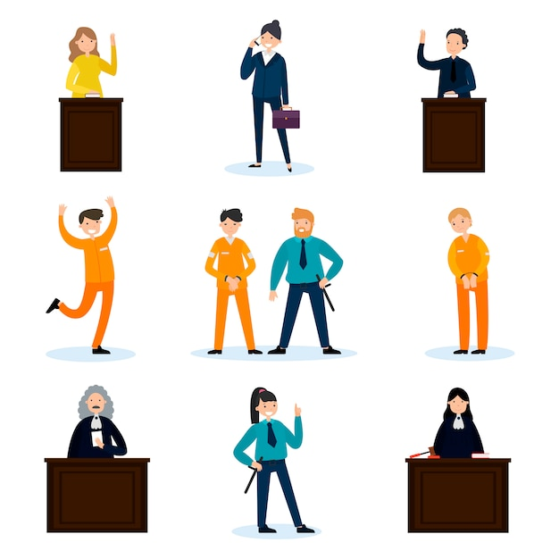 People in court set Free Vector