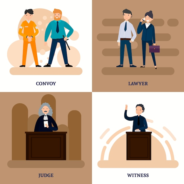 People in court square composition Free Vector