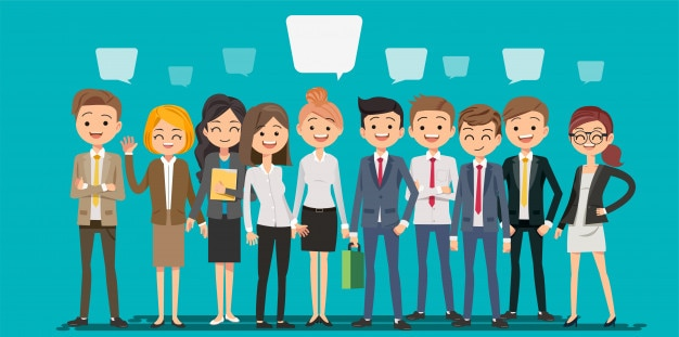 People creating business in cartoon style Premium Vector