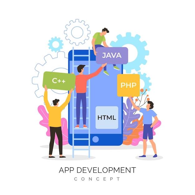 新しいアプリを一緒に作成している人々 Premiumベクター
