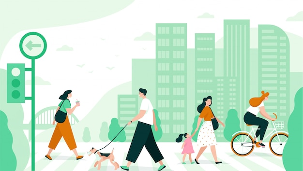 People cross the road in the city. flat   illustration. Premium Vector