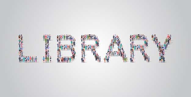 People crowd gathering in shape of library word Premium Vector