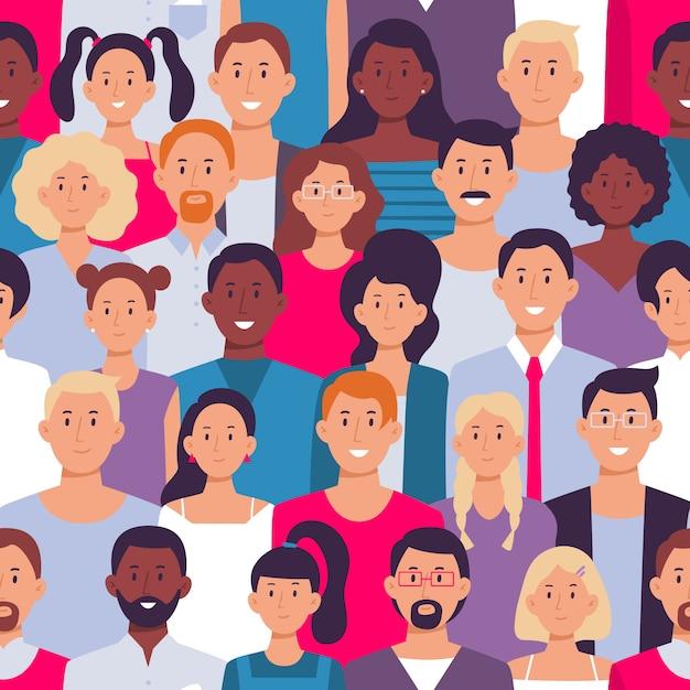 人の群衆のパターン。若い多民族の男性と女性、人々グループのシームレスなイラスト Premiumベクター