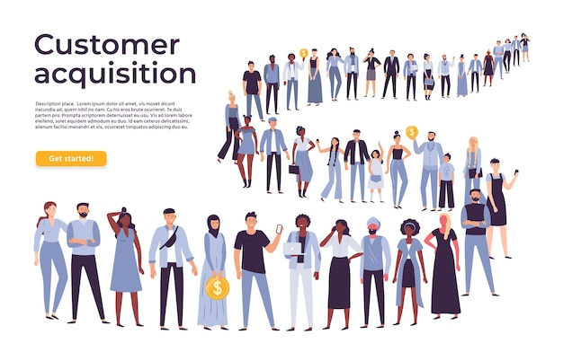 People crowd stand in queue Premium Vector