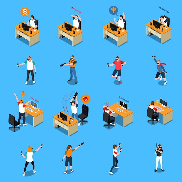 People in cyber sport isometric set Free Vector