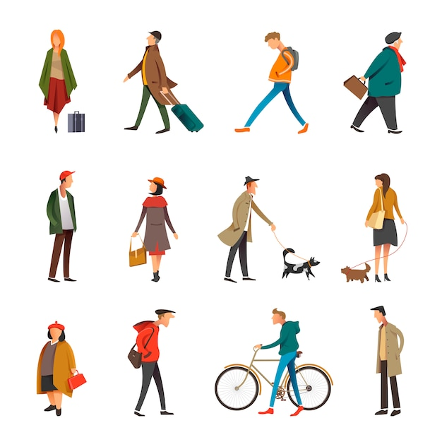 People daily outdoor life in casual clothes vector flat character set Premium Vector
