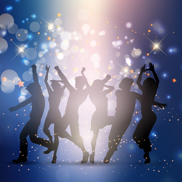 People dancing at a big party
