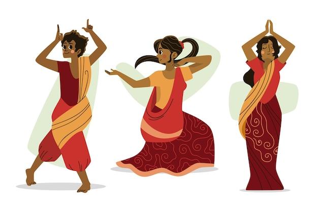 La gente che balla design bollywood Vettore gratuito