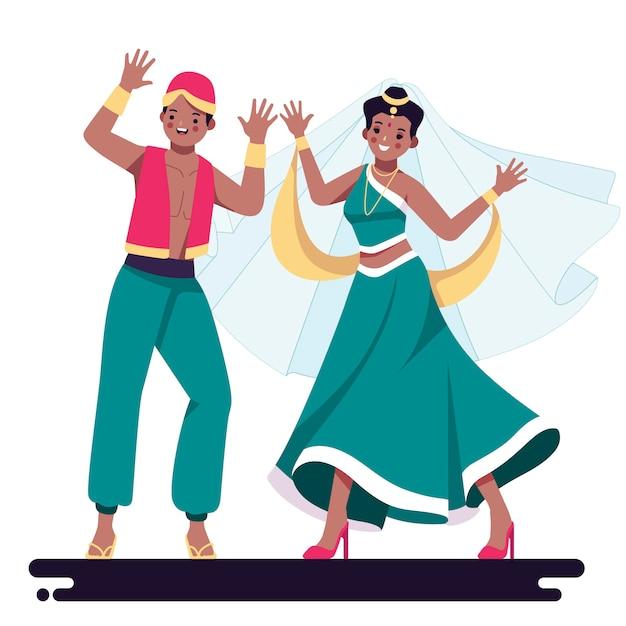La gente che balla illustrazione di bollywood Vettore gratuito