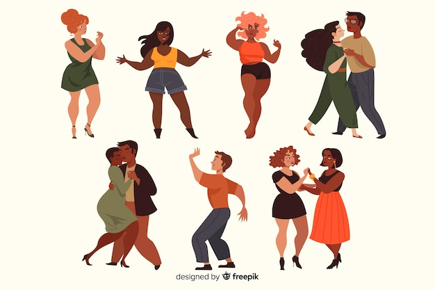 People dancing collection Free Vector