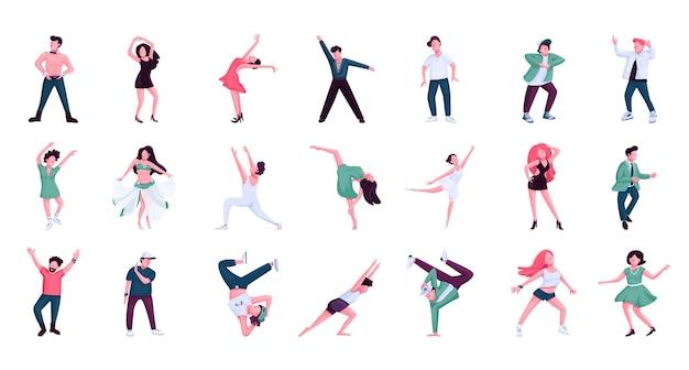 사람들이 춤을 플랫 컬러 벡터 익명 문자 세트. 발레, 힙합 남성 및 여성 댄서. 흰색 배경에 역사와 현대 무용 스타일 격리 된 만화 일러스트 프리미엄 벡터