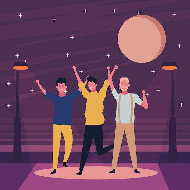 People dancing and having fun Premium Vector