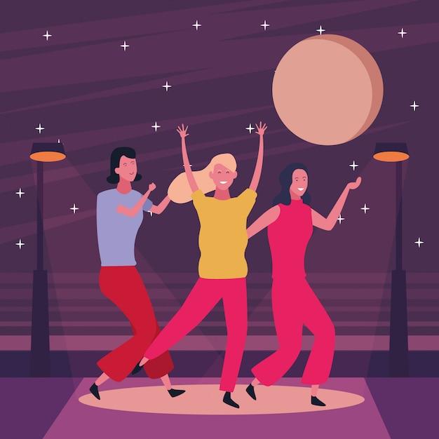People dancing and having fun Premium Vector