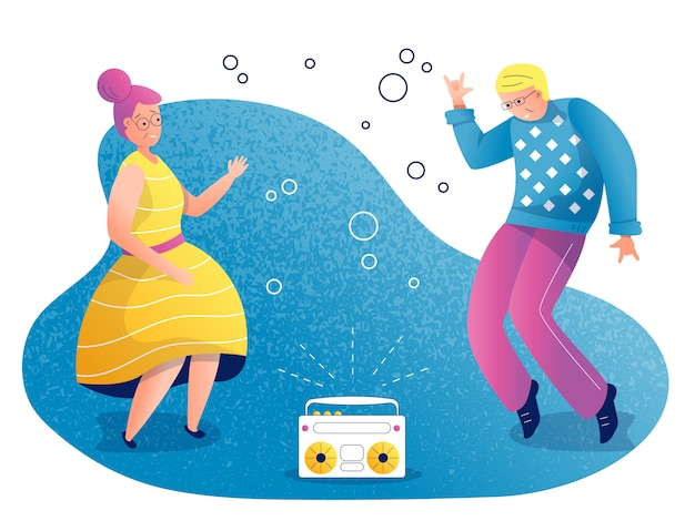 People dancing  illustration Premium Vector
