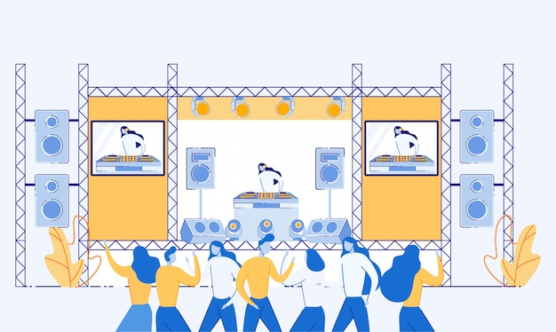 People dancing and listening to music on festival. Premium Vector