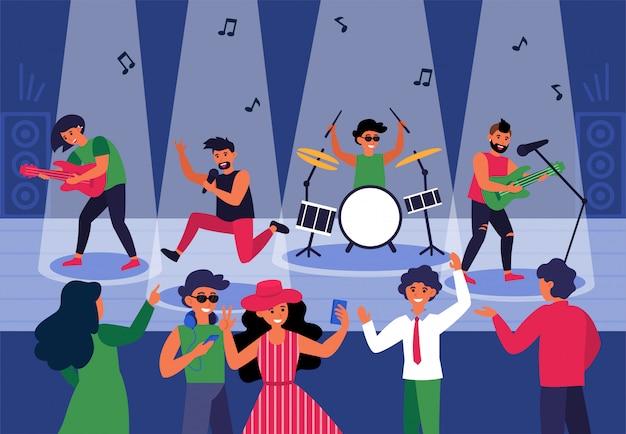 Persone che ballano per ascoltare musica dal vivo in discoteca Vettore gratuito