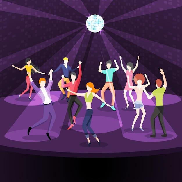 People dancing in nightclub illustration Free Vector