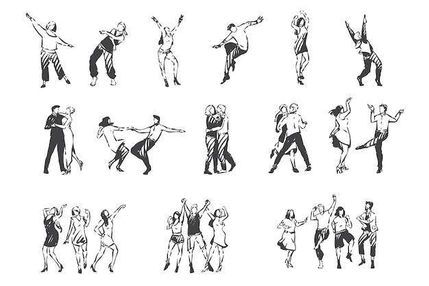 Люди танцуют под музыку эскиза концепции. ночной клуб, на открытом воздухе, вечеринка на открытом воздухе, мужчины и женщины танцуют вальс, друзья и пары развлекаются и танцуют вместе. рука нарисованные изолированные вектор Premium векторы