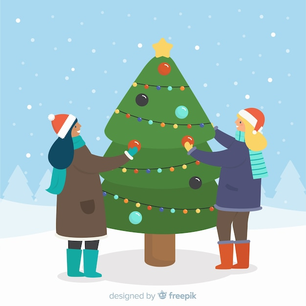 Decorating Christmas Trees Outside.People Decorating Christmas Tree Outside Vector Free Download