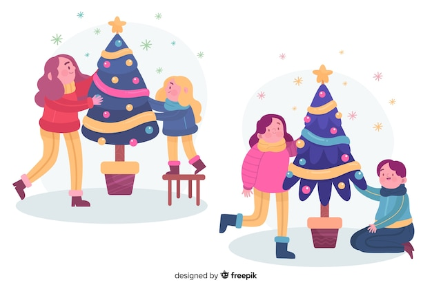 People decorating christmas tree together illustrated Free Vector