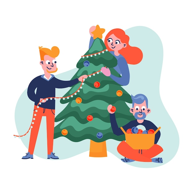 People decorating christmas tree together Free Vector