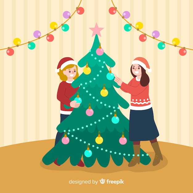People decorating christmas tree with globes Free Vector