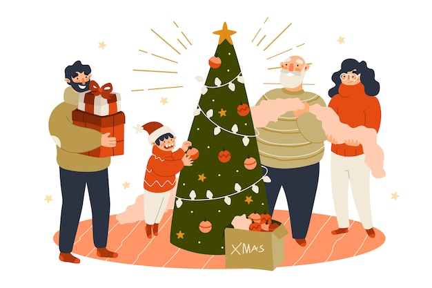 People decorating christmas tree Free Vector