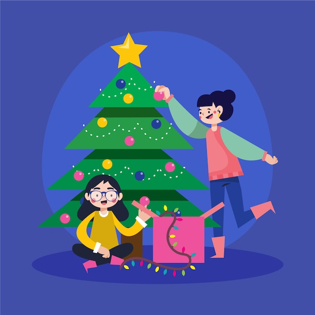 People decorating the christmas tree Free Vector