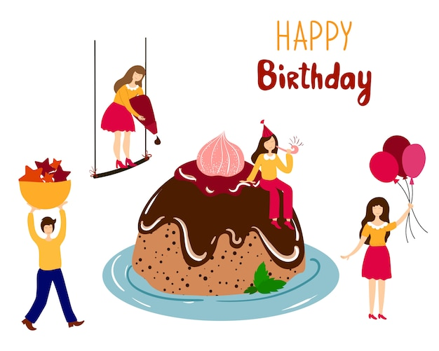 Swell People Decorating Giant Birthday Cake Premium Vector Funny Birthday Cards Online Fluifree Goldxyz