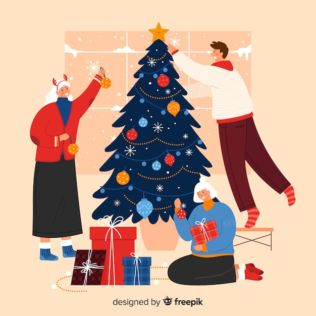 People decorating together the christmas tree Free Vector