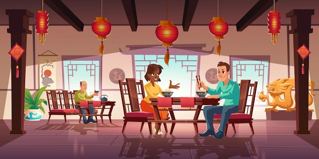 People dining in asian restaurant, men and women eating noodles and drink tea Free Vector
